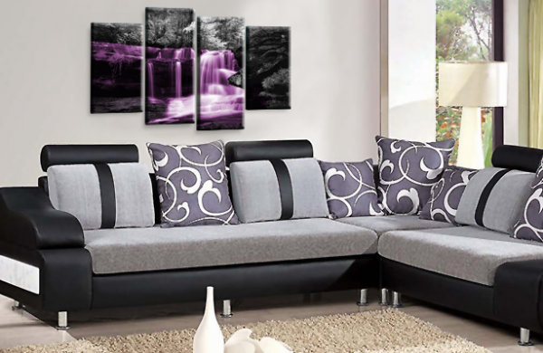 Autumn Forest Waterfall Canvas Wall Art Purple Grey Picture Print